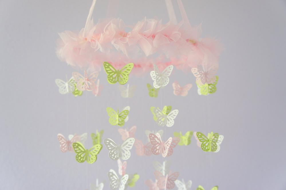 nursery mobile pink green white butterfly mobile. Black Bedroom Furniture Sets. Home Design Ideas
