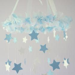 Baby Blue &amp; White Star Mobile - Nursery Mobile, Baby Shower Gift, Nursery Decor