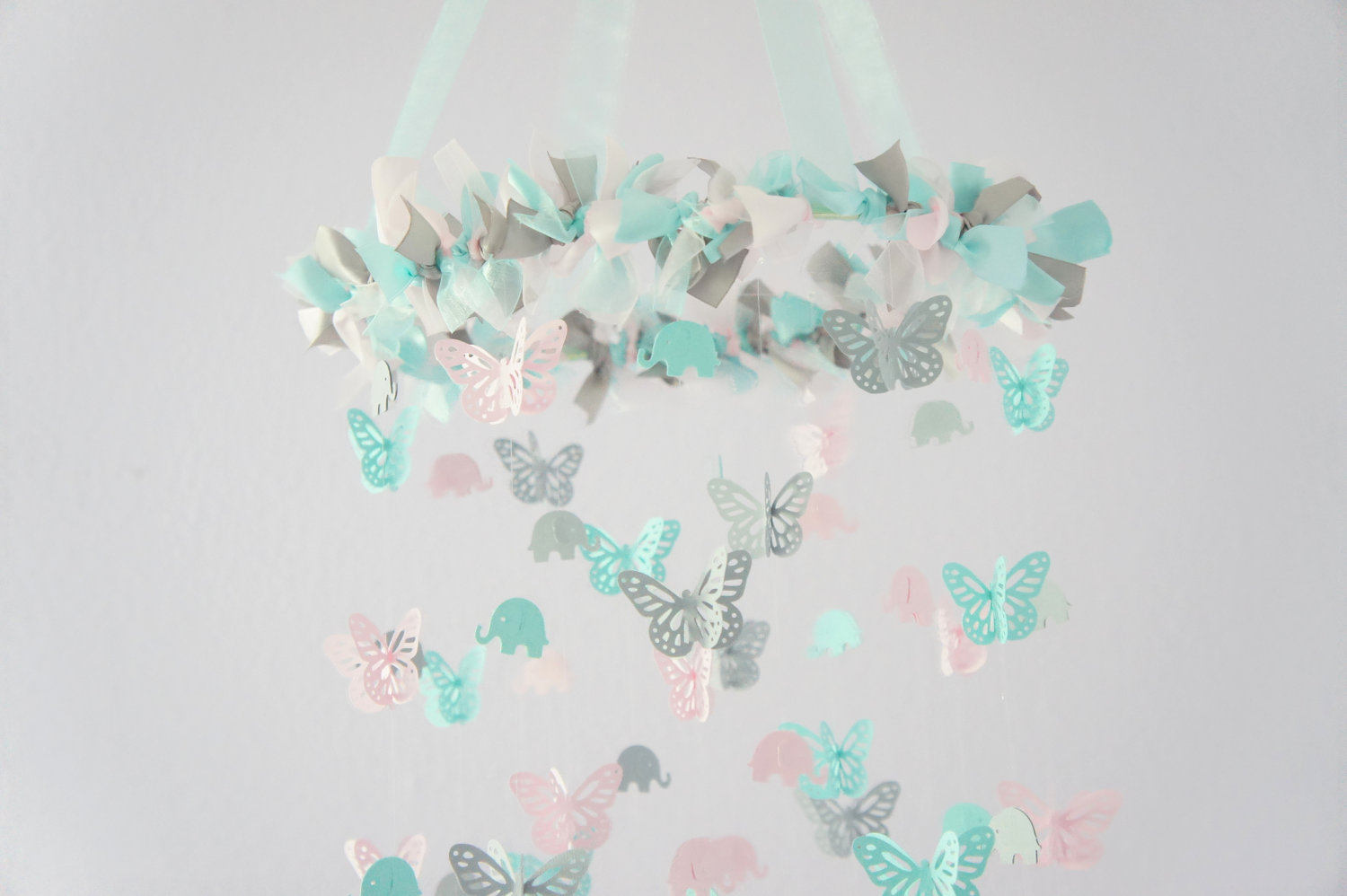 Aqua pink gray nursery decor elephants butterflies for Baby shower decoration butterfly