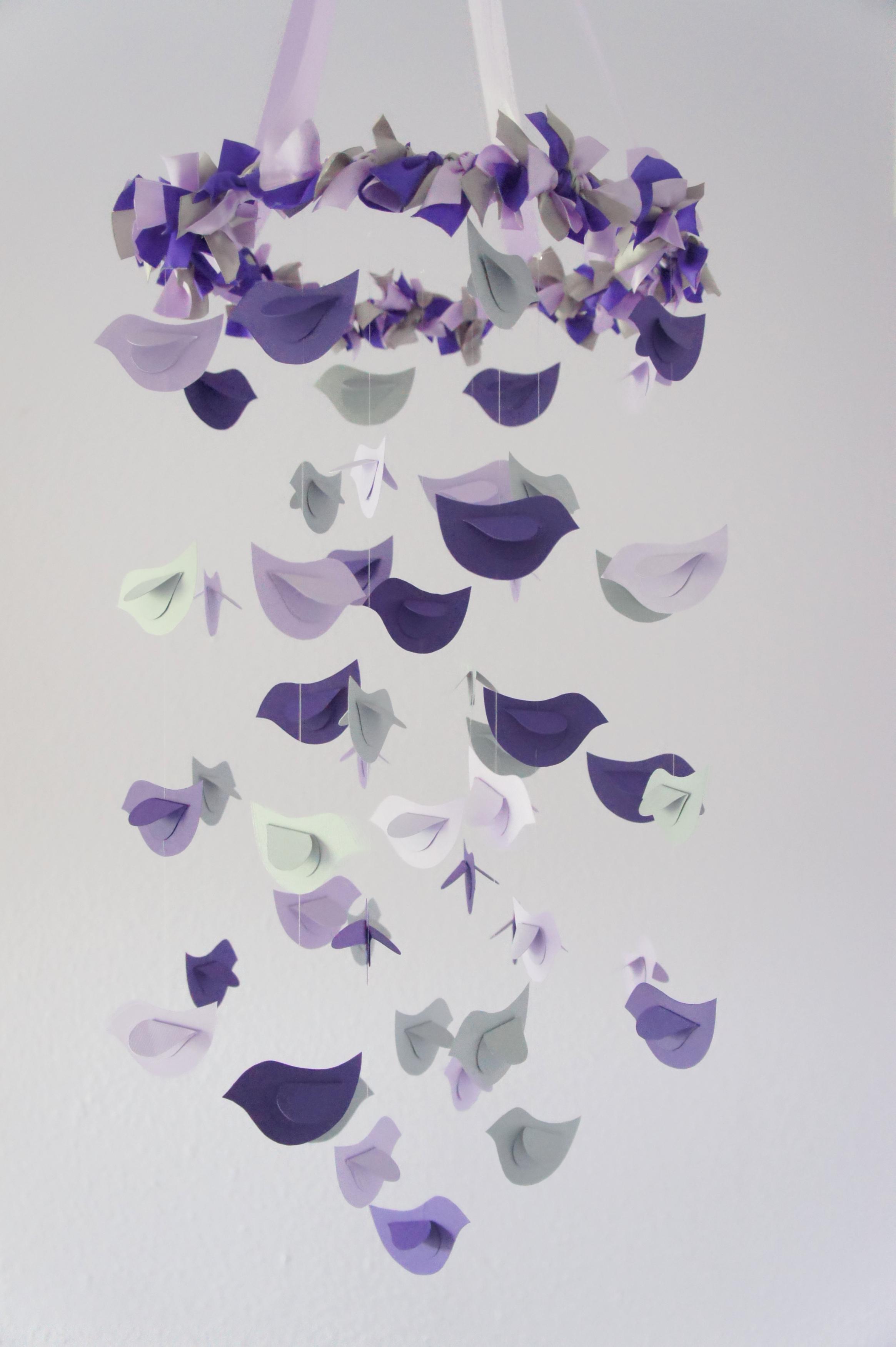 modern nursery mobile birds in purple lavender  grey baby  - modern nursery mobile birds in purple lavender  grey baby shower giftphotographer prop