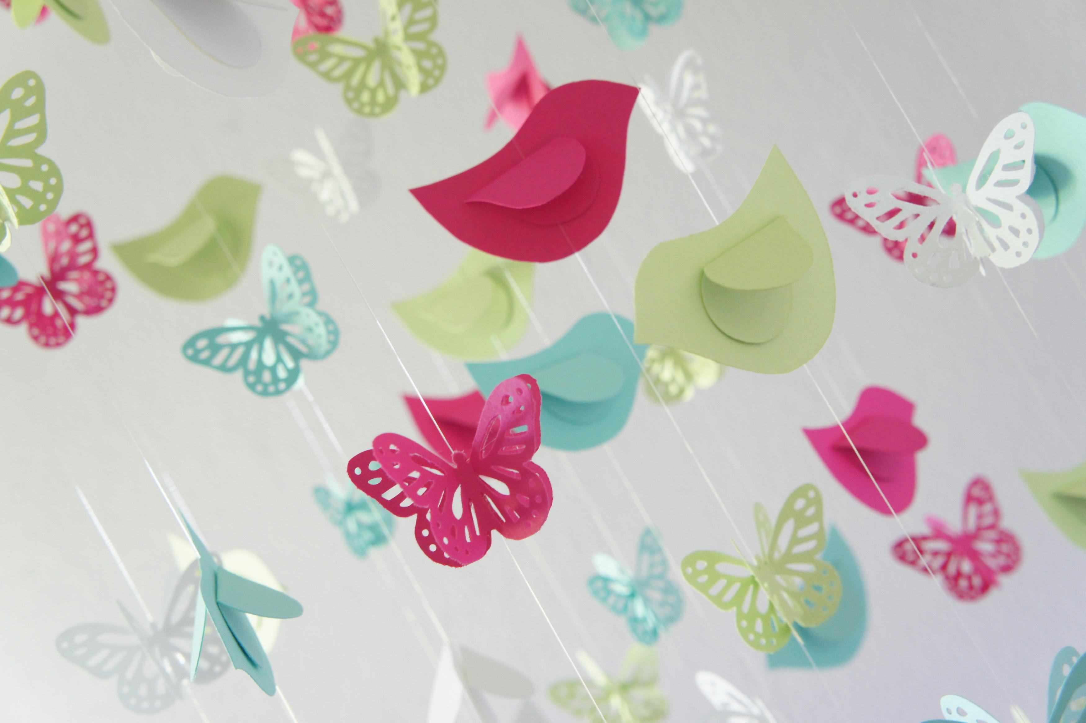 Butterflies birds nursery mobile baby shower gift on luulla for Baby shower butterfly decoration ideas
